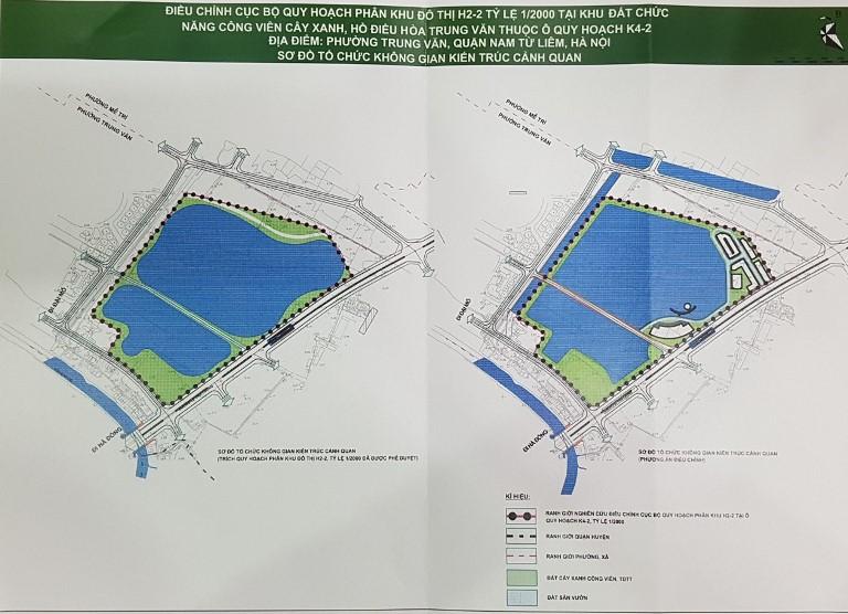 Hà Nội: Điều chỉnh quy mô diện tích hồ điều hoà tại phân khu H2-2, khu vực hồ điều hoà Trung Văn